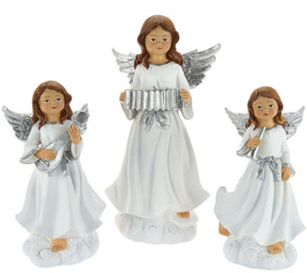 """As Is"" Set of 3 Musical Angel Figures by Valerie - H210326"