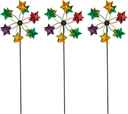 Plow & Hearth Set of 3 Metal Mini Holiday Wind Spinners