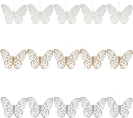 """As Is"" 15- Piece Glittered Butterfly Clips by Valerie"