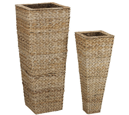 Household Essentials Set of 2 Banana Leaf Nested Vases