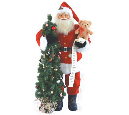 "48"" Lit Santa with Teddy Bear & Tree by Santa'sWorkshop"
