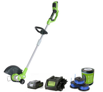 "Greenworks 12"" String Trimmer, 3-pc Spool, Battery & Charger - H290126"