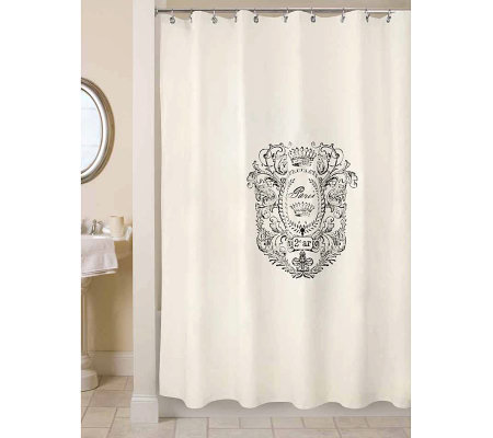 Awesome Vintage House Paris Postage Natural/Black Shower Curtain