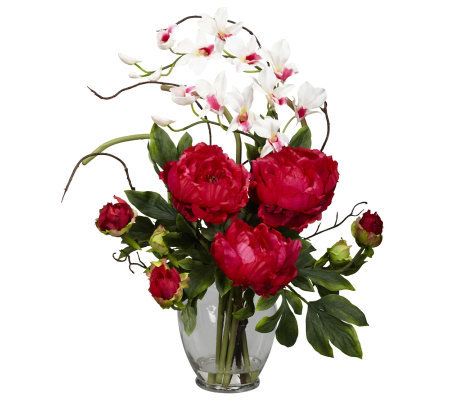 Peony & Orchid Flower Arrangement by Nearly Natural