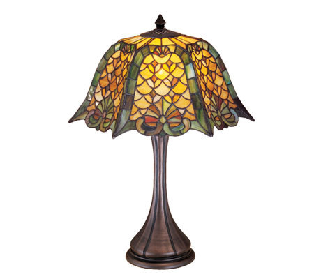 Tiffany-Style Duffner & Kimberly Shell & Diamond Table Lamp