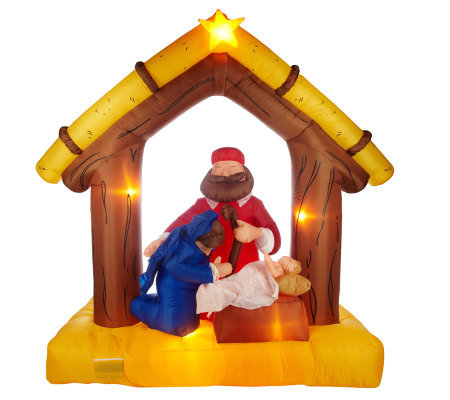 7' Inflatable Nativity Scene with Lights and Music