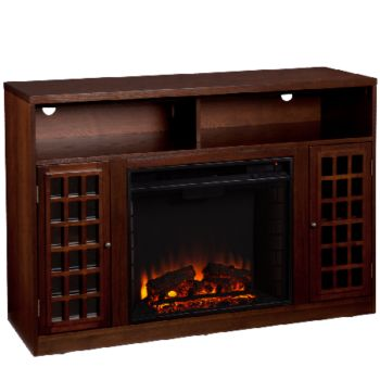 Bergen Espresso-Finish Media Console with Electric Fireplace