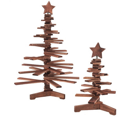 ED On Air Set of 2 Wood Accordion Trees by Ellen DeGeneres