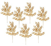 Set of 7 Metallic Glittered Leaf Picks - H206427