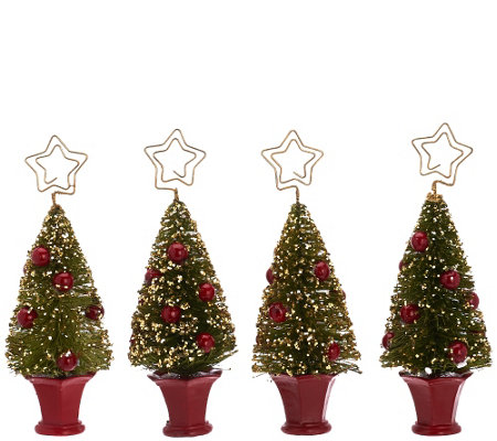 Set of 4 Bottlebrush Tree Placecard Holders by Valerie