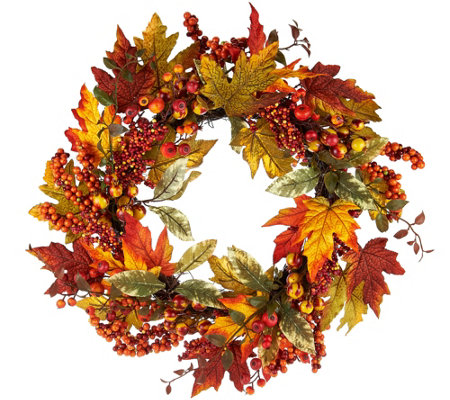 "20"" Harvest Leaves and Berries Wreath by Valerie"