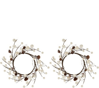 "Set of Two Pinecones, Pearl Berries, Winter Jewels 7"" Rings - H209627"