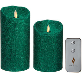 "Luminara Set of 2 5"" and 7"" Glitter Candles with Remote - H210827"