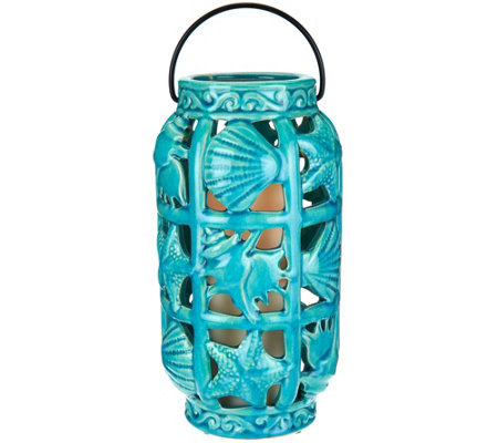 Coastal Ceramic Lantern w/ Flameless Candle by Valerie