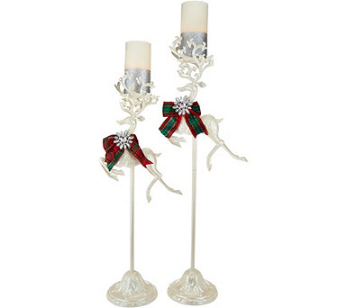 Kringle Express S/2 Reindeer on Pedestals with Flameless Candles - H211627