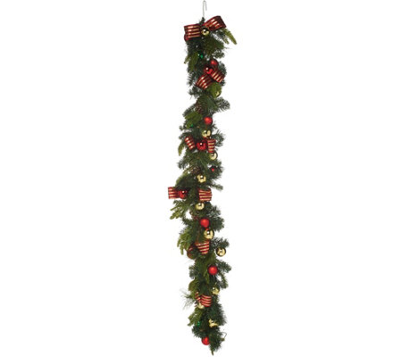 6' Ornament, Ribbon and Pine Decorative Garland by Valerie