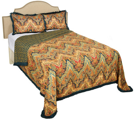 Moroccan Flair 100% Cotton Printed Twin Quilt with Fringe Border