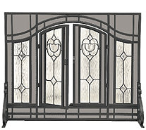 Plow & Hearth Large Floral Fireplace Screen w Glass Panel Door - H287427