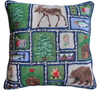 "Lodge Sampler 18"" x 18"" Tapestry Decorative Pillow - H349327"