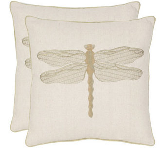 "Safavieh Set of 2 18""x18"" Azure Dragonfly Applique Pillows - H360627"