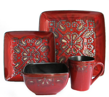 American Atelier Marquee Red 16-Piece Dinnerware Set