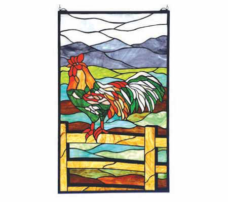 Tiffany Style Sunrise Perch Window Panel