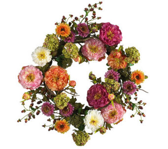 "24"" Mixed Peony Wreath by Nearly Natural - H179228"