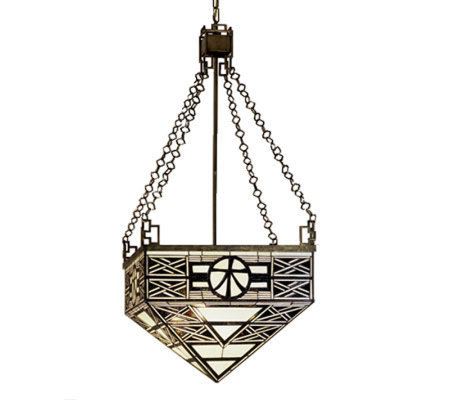 "Tiffany Style 21"" Wood Symbol Inverted PendantLight"