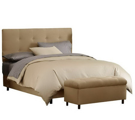 Skyline Furniture Ultrasuede Twin Headboard & Storage Bench