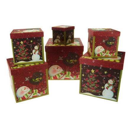 Susan Winget Set of 6 Stacking Holiday Boxes by Valerie