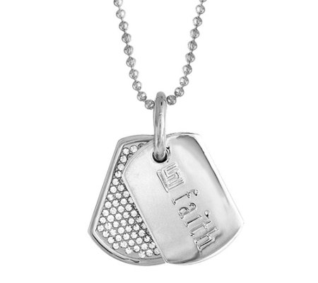 """As Is"" Stella Valle Swarovski Crystal DogTag Necklace by Lori Greiner"