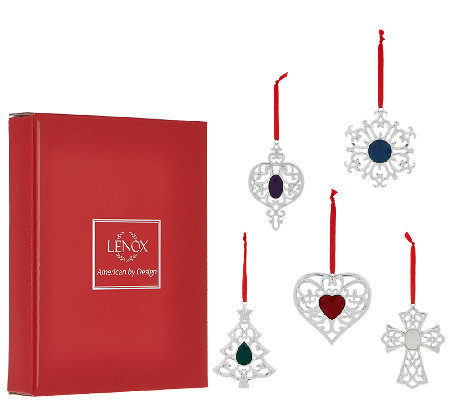 Lenox Set of 5 Silver Plated Crystal Ornaments with Gift Boxes