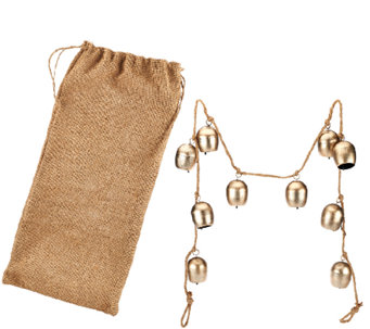 ED On Air 5' Metal Bell Garland with Burlap Bag by Ellen DeGeneres - H205928
