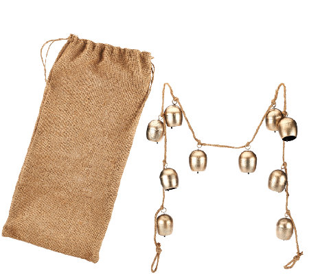 ED On Air 5' Metal Bell Garland with Burlap Bag by Ellen DeGeneres