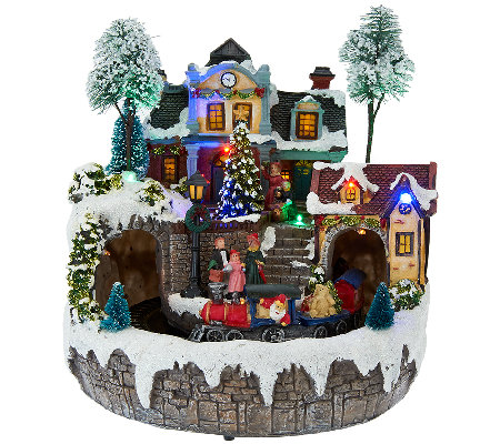 Plow & Hearth Lighted Musical Village Scene with Revolving Train