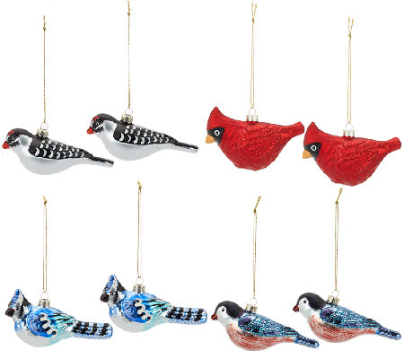 ED On Air Set of 8 Glass Bird Ornaments by Ellen DeGeneres