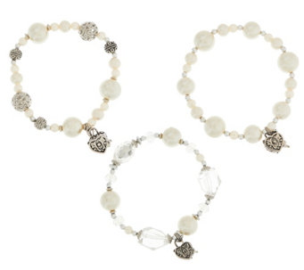 Set of 3 Prayer Box Bracelets with Gift Bags by Valerie - H207928