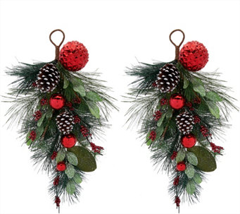 Set of 2 Pinecone, Berry and Ornament Teardrops by Valerie - H208728