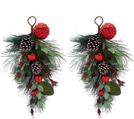 Set of 2 Pinecone, Berry and Ornament Teardrops by Valerie