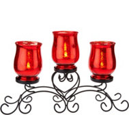 Iron Scroll Centerpiece w/ 3 Glass Hurricanes by Valerie