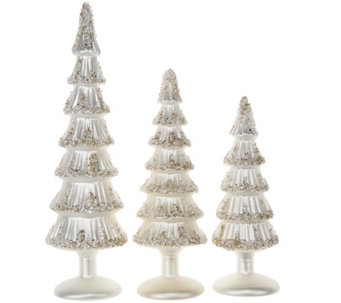 """As Is"" Set of 3 3 Glass Trees with Beaded Accents by Valerie - H211128"