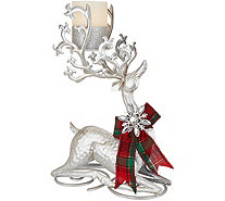 Kringle Express Kneeling Metal Reindeer with Flameless Candle - H211628