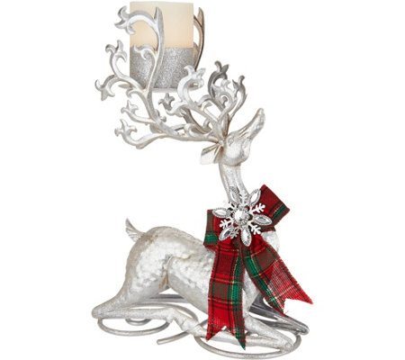 Kringle Express Kneeling Metal Reindeer With Flameless