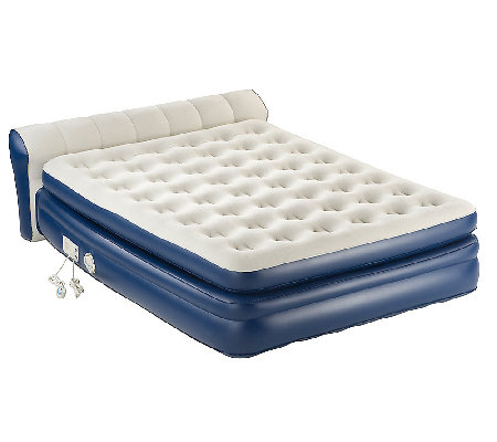 AeroBed Twin Size Elevated Headboard Bed w built-In Pump