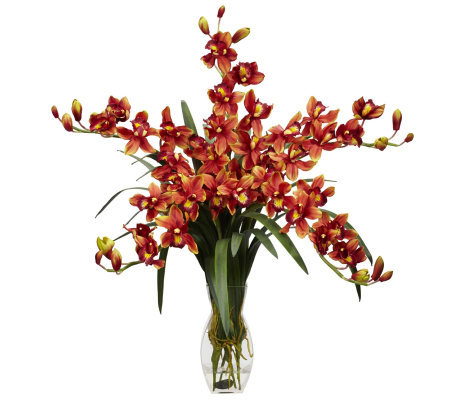 Cymbidium Orchid Flower Arrangement by Nearly Natural