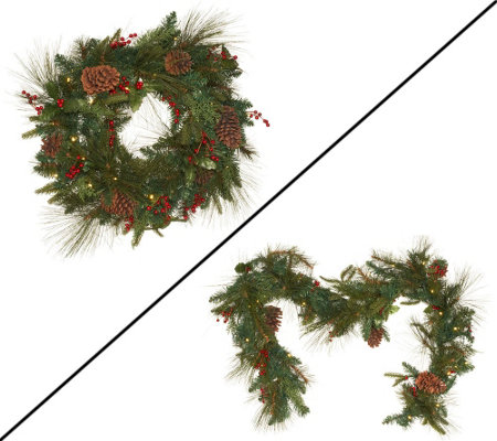 Plow & Hearth Pinecone and Berry Wreath or Garland Collection