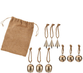 ED On Air S/9 Metal Bell Ornaments w/Burlap Bag by Ellen DeGeneres - H205929