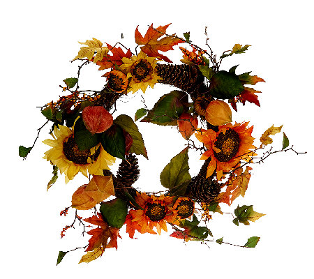 "Bountiful Harvest 26"" Wreath with Sunflowers by Valerie"