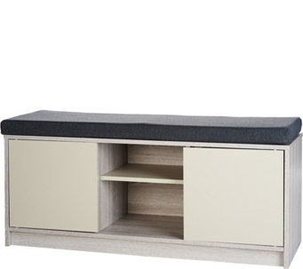 Multifunctional Storage Bench with Cabinets & Removable Cushion - H207129