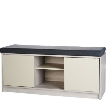 Multifunctional Storage Bench with Cabinets & Removable Cushion